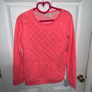 NWT Neon coral girls sweater